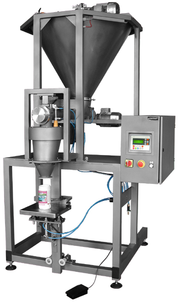 Semi-automatic dosing machines for dusty, badly loose and powdery products